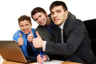 young business men thumbs up small