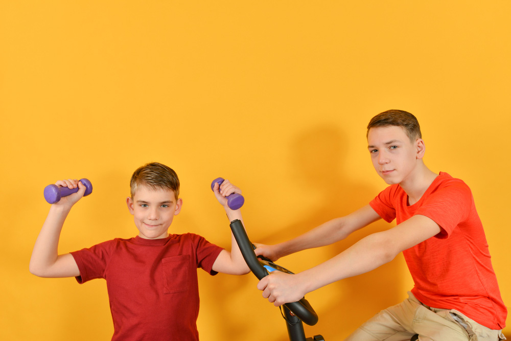 Teenagers working out