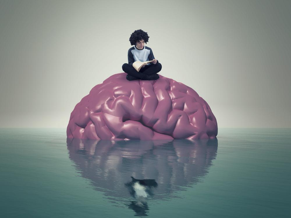 Boy reading a book sitting on a brain