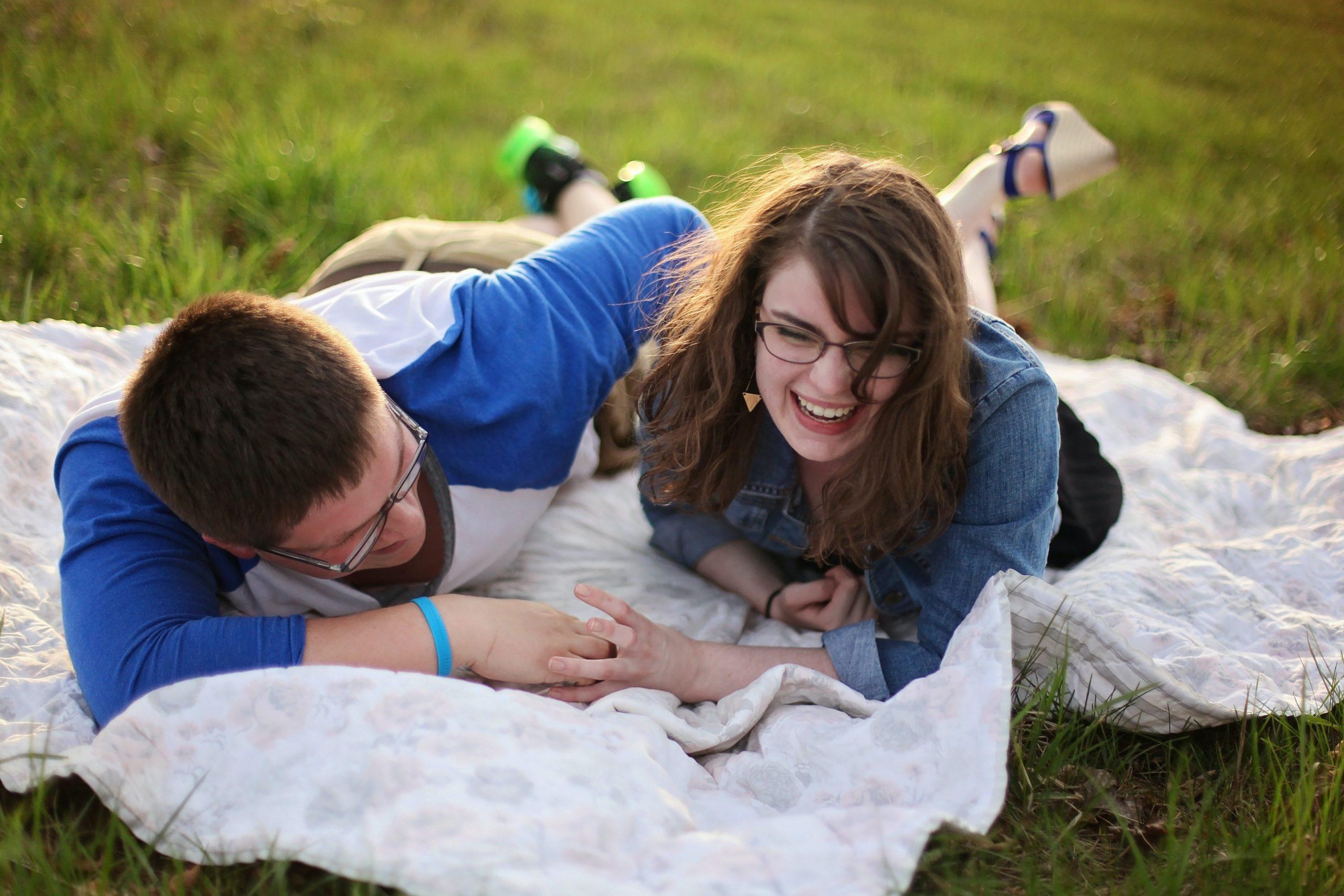 Couple outside smiling