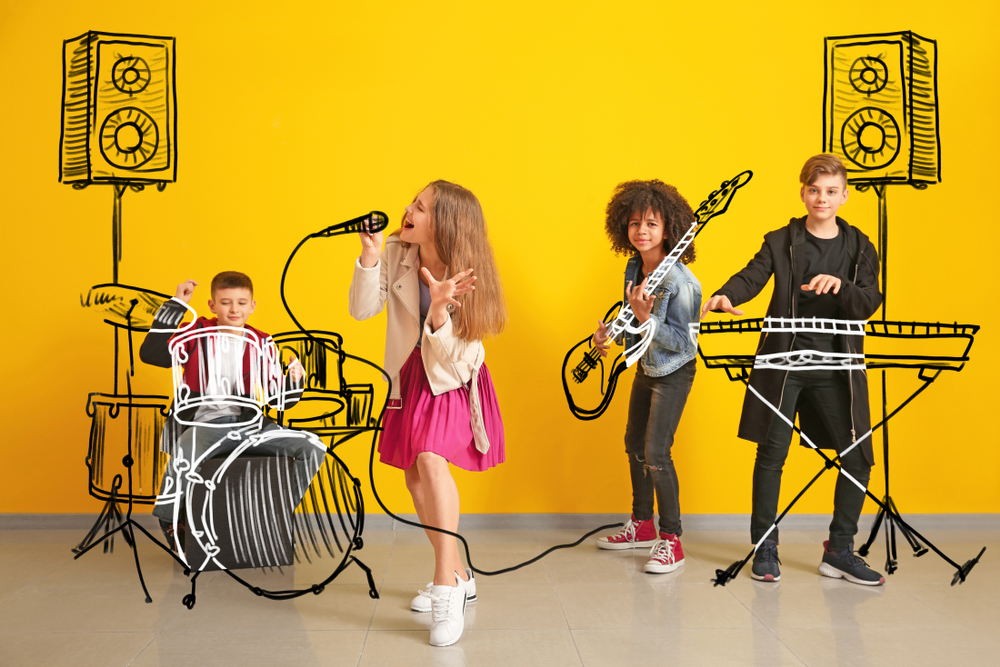 Older Children Playing Musical Instruments