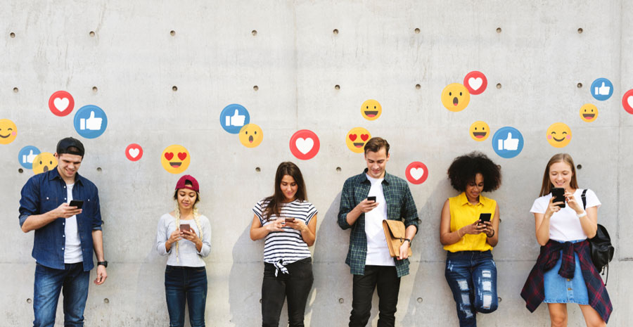 Selection of teenagers looking for approval on social media