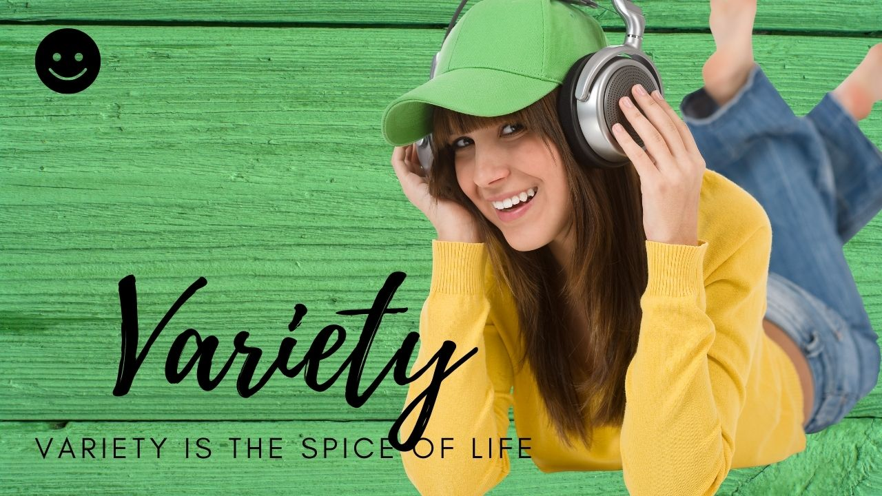 Variety is the spice of life header with teenager listening to music