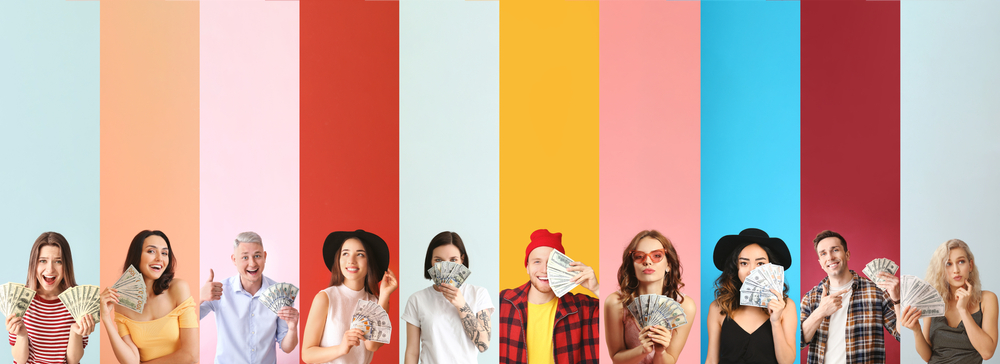 Colourful background with teenagers holding money