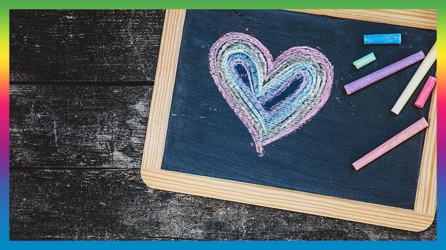 Chalkboard with LGBT Heart drawn on it